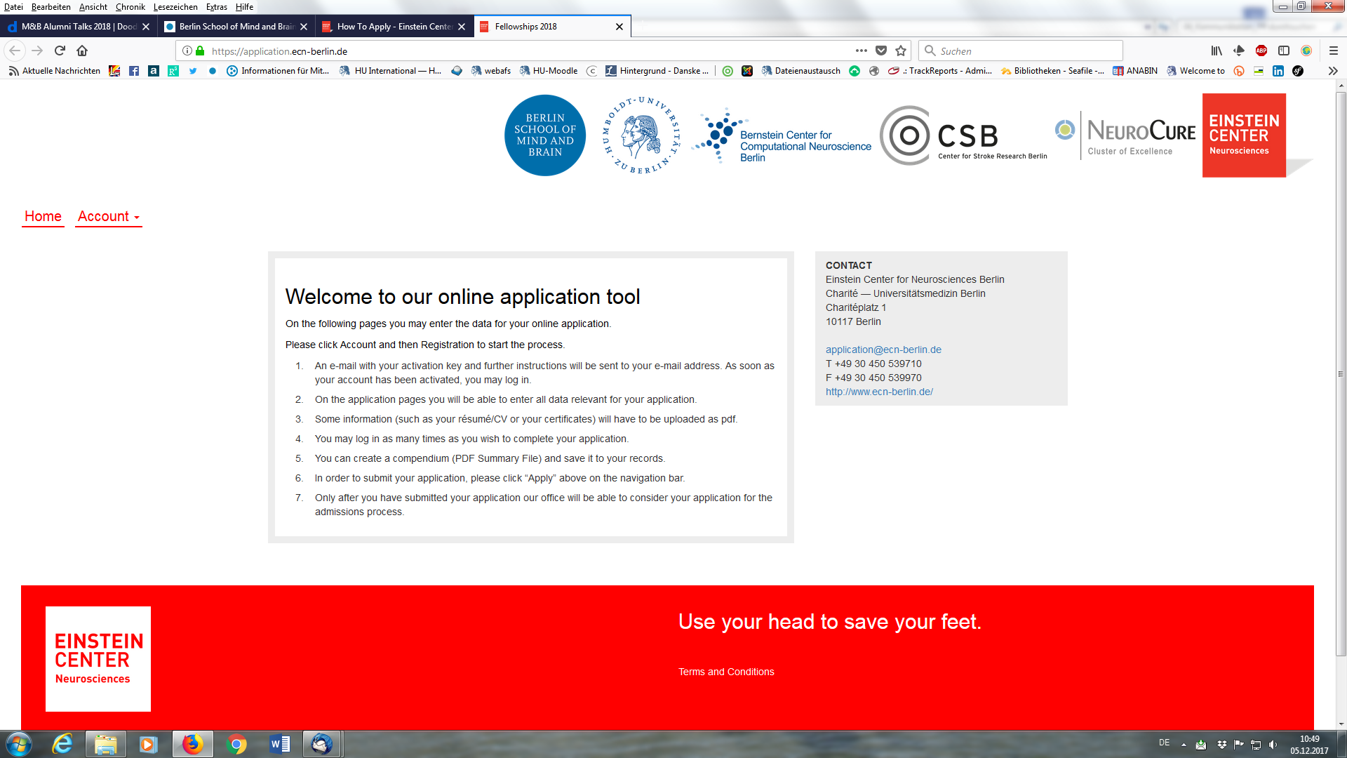 Berlin School of Mind and Brain: Online application
